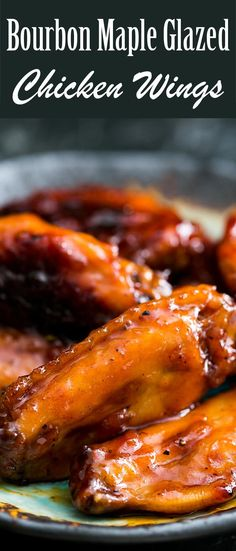 Perfect for game day! Tasty chicken wings with a glaze made with Bourbon whisky and maple syrup. BEST WINGS EVER. On SimplyRecipes.com