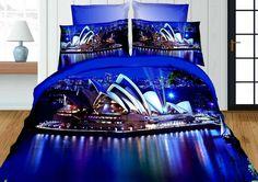 Sydney 3D niebieska pościel do sypialni