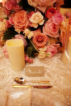 Fancy That! Events, Calligraphy Place Card, Gold Dessert Utensils