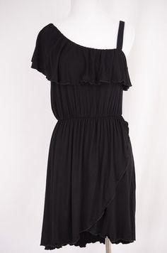Off Shoulder Black Ruffle Dress Size M by ClosetDash   ClosetDash