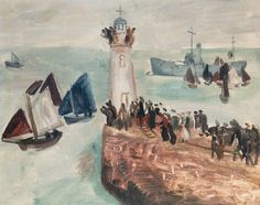 """""""Yacht Race, Newlyn"""" by Christopher Wood, 1928 University Of Liverpool, Boat Art, St Ives, Seascape Paintings, Travel Posters, Landscape Art, Painting On Wood, My Images, Fine Art"""
