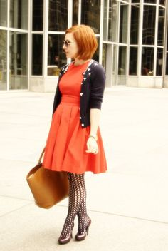 SWF {June Cleaver} (love the office-friendly dress + sweater combo)