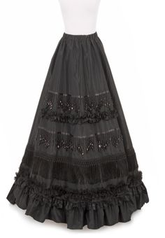 Isadore Victorian Skirt in choice of Black Acetate Taffeta w/Black Lace, Ruching, Beading & Fringe.