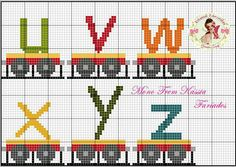 Alphabet train, lower case, u-z Cross Stitch Alphabet, Cross Stitch Baby, Cross Stitch Embroidery, Bead Loom Patterns, Cross Stitch Patterns, Alphabet And Numbers, Different Patterns, Toddler Crafts, Lettering