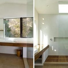 use of natural materials, shower space/modern bathroom by Cary Bernstein Architect
