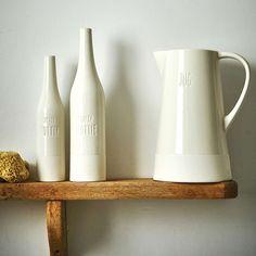 Cream Ceramic Half Glazed Bottle | Dunelm