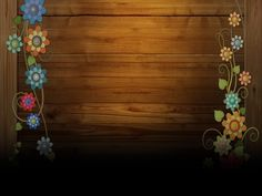 Wooden Ground with Flowers Frame PPT Backgrounds