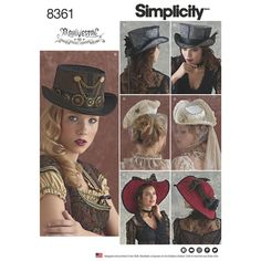 Hats by Arkivestry help you add that extra special touch to your costume. This pattern offers four styles—a top hat with detachable hat band, steampunk topper, wide brim hat and a tricorne—and three sizes: S, M, and L. Simplicity sewing pattern.