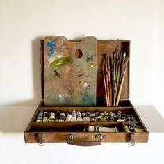 Français ancien Kit de peinture à l'huile - peintres voyage Vintage Box - Kit de…