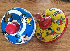 Two Vintage J. Chein & Co Tops Disney Toddlers