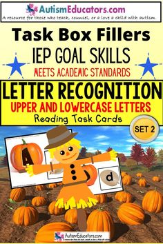 Identify upper and lowercase letters of the alphabet with pumpkins! Learn letters with an autuumn theme for Special Education, Pre-K, Kindergarten and children with special learning needs.