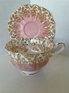 VTG Mauve Pink Heavy Gilt ROYAL ALBERT Cascade Bone China