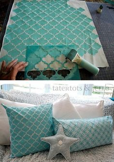 I see this in your future----Fabric paint & stencil used to create custom pillows