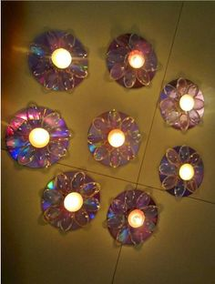 Recycle CD Beautiful wall lamps from old CDs