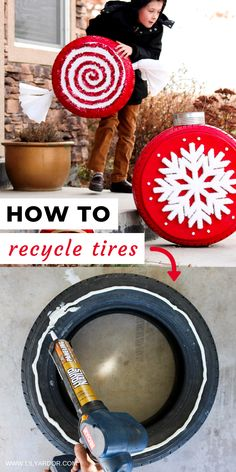 How To Recycle Old Tires Into Outdoor Christmas Decor! How To Recycle Old Tires Into Outdoor Christmas Decor! Recycled Christmas Decorations, Gingerbread Christmas Decor, Christmas Yard, Outdoor Christmas, Xmas Decorations, Christmas Lights, Christmas Crafts, Old Christmas, Christmas Ideas