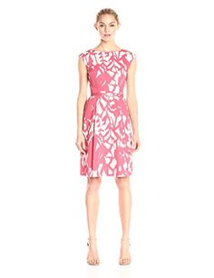 Adrianna Papell Womens Printed Fit and Flare Dress SandRose 10 -- You can find out more details at the link of the image.