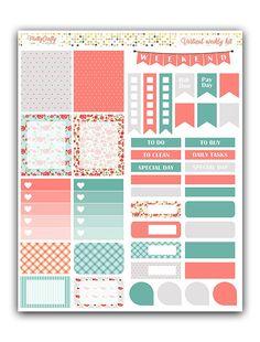 Shabby Chic kit de pegatinas semanal | Kit semanal temático | Kit semanal de Erin Condren tema vertical | Pegatinas de planificador semanal