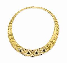 A DIAMOND, ONYX AND GOLD COLLAR NECKLACE, BY VAN CLEEF & ARPELS