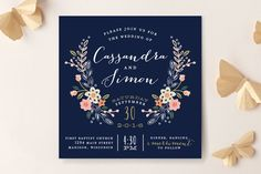 Super pretty wildflower crest wedding invitations!