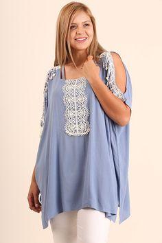 Plus Size Cold Shoulder Lace Tunic