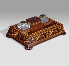 Stunning nineteenth century rosewood Tunbridge ware ink stand. Two glass…