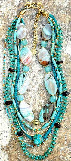 Gorgeous Sea Glass, Turquoise, Blue Agate, Bronze Pearl and Gold Neckl | XO Gallery