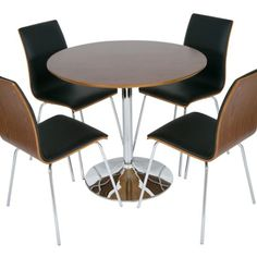 Madison Walnut Effect Round Bistro Table and four Walnut/Black Upholstered Chairs primary image