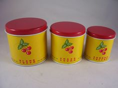 Vintage Childs Toy Tin Cherry Canister Set Of 3