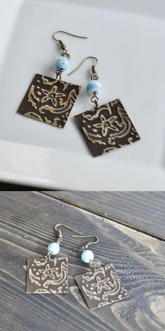 You can emboss metal easily! These DIY earrings are a quick project - make them for gifts and your friends will think they are from the department store.