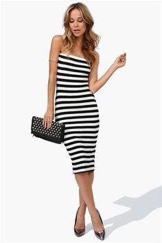 perfect little black + white striped dress