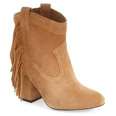 """Jessica Simpson 'Wyoming' Bootie, 3 1/4"""" heel ($139) ❤ liked on Polyvore featuring shoes, boots, ankle booties, ankle boots, dakota tan suede, short cowgirl boots, ankle cowboy boots, western ankle boots and jessica simpson booties"""