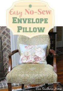 No Sew Envelope Pillow with button monogram by Our Southern Home #nosew #nosewenvelopepillow