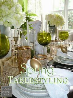 Layer gold accents into your tablescape for an elegant Easter tablesetting. Spring Easter Tablescape HomeGoodsHappy