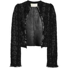 Antonio Berardi Tweed and leather jacket ($1,185) ❤ liked on Polyvore