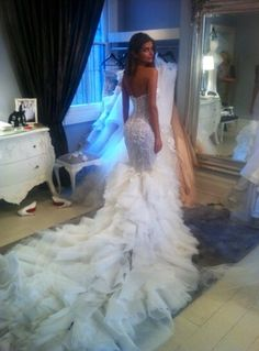 This mermaid wedding dress is like, my dream wedding dress or something! Dress by Steven Khalil!
