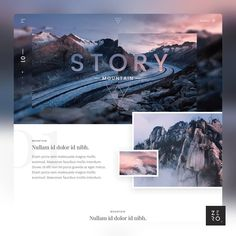 Mountain story website by Samuel Scalzo https://dribbble.com/shots/3205438-Mountain-story-website — — — Design Delivered to Your Front…