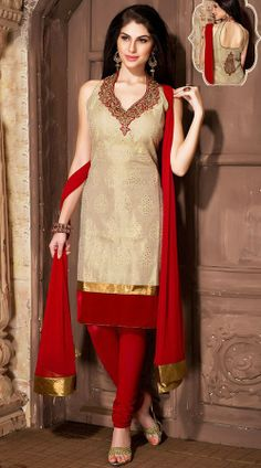 Dusty Cream Banarasi Silk Readymade Churidar Suit WV82754