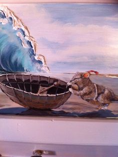 Textured Reep, waves and boat.  Resin on water to make it shimmer. Art work by Leonie Hoekstra