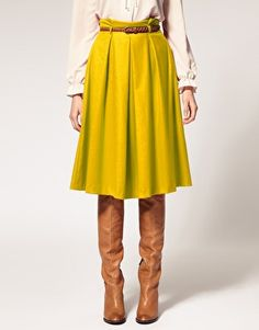 Super duper into this length skirt w/ boots. Not sure about the color, but could potentially dig it