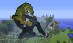 King Kong versus T-Rex Made in Minecraft Current Minecraft Bauwerke, Images Minecraft, Minecraft Kunst, Construction Minecraft, Amazing Minecraft, Cool Minecraft Houses, Minecraft Blueprints, Minecraft Designs, Minecraft Buildings
