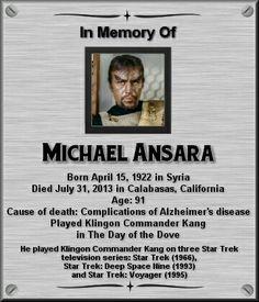 Michael Ansara Ansara reprised his role as the Klingon Kang in 2 episodes of Star Trek: Deep Space Nine. Star Trek Crew, Star Trek Tv, Star Wars, Star Trek Actors, Star Trek Characters, Star Trek Original Series, Star Trek Series, Star Trek Enterprise, Star Trek Voyager