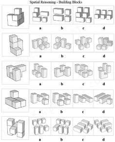 Key Stage 11 Plus Spatial Reasoning, Shapes - Building Blocks, With this type of question you are given a shape on the left which is constructed from several different sized blocks. You are also given four options (labelled 'a' to 'd) containing s 11 Plus Exam, Logic Math, Reasoning Test, Target Image, Key Stage 2, Writing Practice Worksheets, Math Challenge, Thinking Skills, 3d Shapes