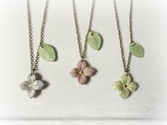 Hydrangea necklace  clay flower leaves sage green mauve by GBILOBA, €22.50