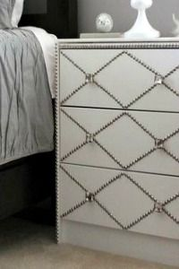 Ikea dresser room. Nailheads pattern née hardware   ikea rast hack with nailheads