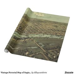 Vintage Pictorial Map of Saginaw Michigan (1867) Wrapping Paper