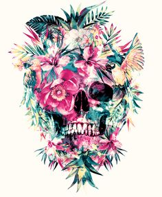 #skull #flowers #artprint