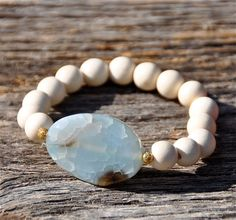 NEW White Wood Gemstone Bead Bracelet / Handmade by BeadRustic