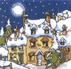 Buy Mini Snowy Cottage Cross Stitch Kit Online at www.sewandso.co.uk