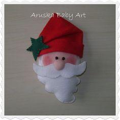confeccionado em feltro, fibra siliconada Christmas Ornaments, Holiday Decor, Pasta, Papa Noel, Christmas Crafts, Embellishments, Feltro, Fiber, Handmade Crafts