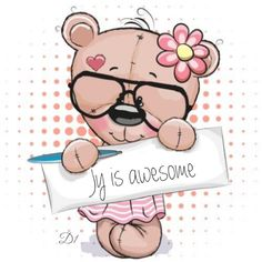 Illustration about Cute pink Teddy Bear girl with plaque with inscription thanks. Illustration of greeting, cute, text - 56979682